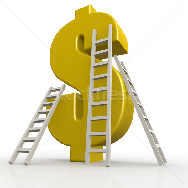 Yellow dollar sign with white ladder Stock photo © tang90246