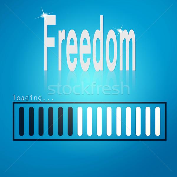 Stock photo: Freedom blue loading bar