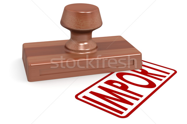 Wooden stamp import with red text Stock photo © tang90246