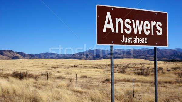 Odpowiedzi brązowy znak drogowy Błękitne niebo działalności Zdjęcia stock © tang90246