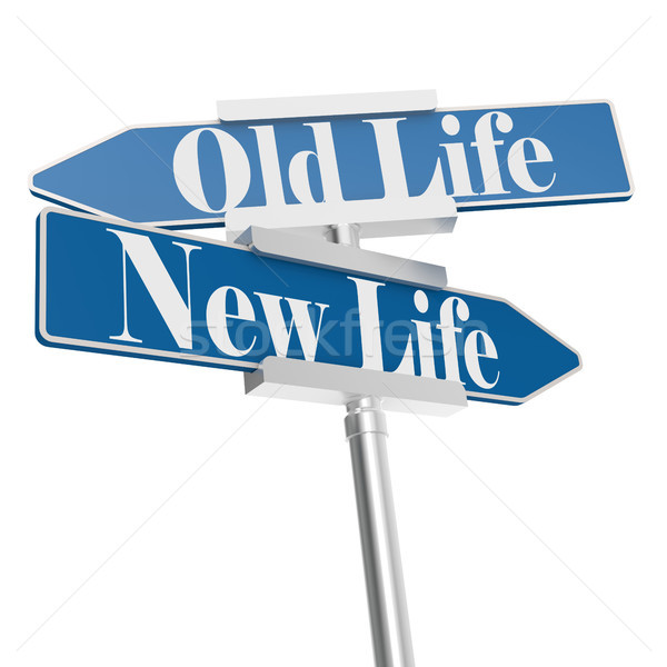 Change directions with old life and new life signs Stock photo © tang90246