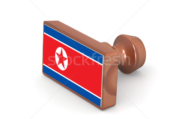 Wooden stamp with North Korea flag Stock photo © tang90246