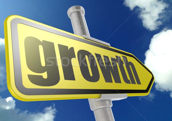 Foto stock: Amarelo · placa · sinalizadora · crescimento · palavra · blue · sky · imagem