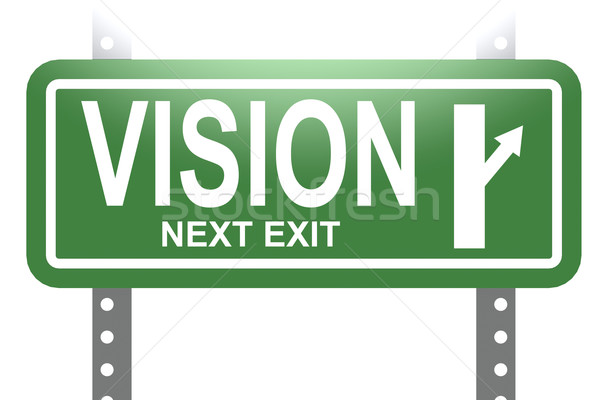 Vision green sign board isolated Stock photo © tang90246