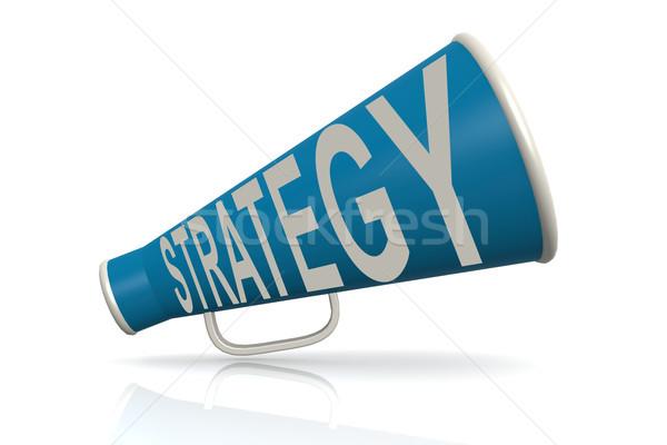 Niebieski megafon strategii słowo odizolowany biały Zdjęcia stock © tang90246