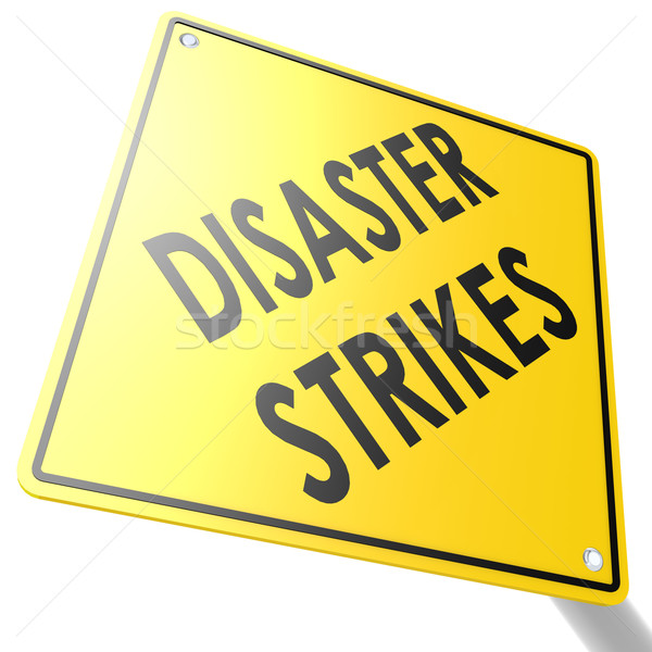 Road sign with disaster strikes Stock photo © tang90246