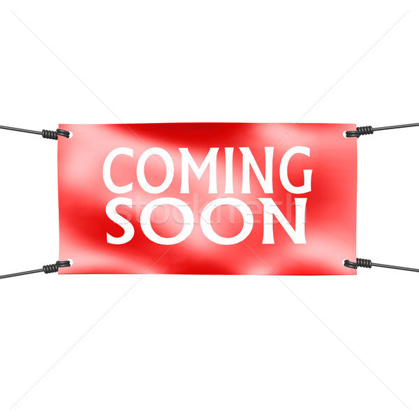Banner coming soon with four ropes on the corner Stock photo © tang90246