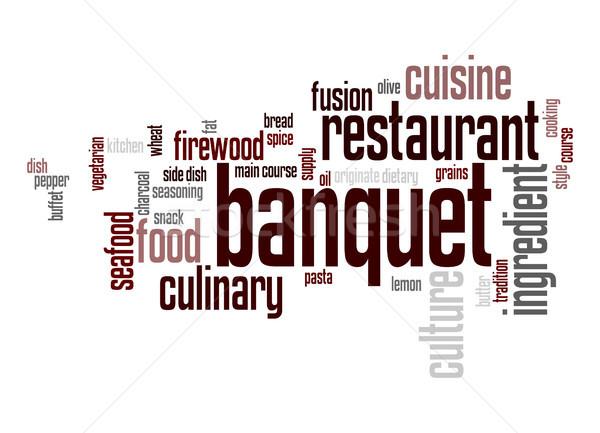 Banket woordwolk voedsel wolk koken grafische Stockfoto © tang90246