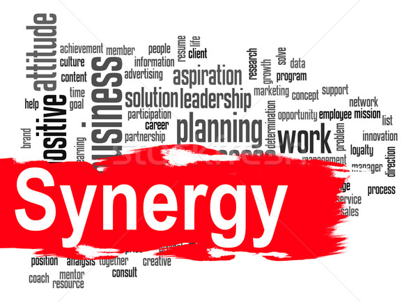 Synergy word cloud with red banner Stock photo © tang90246
