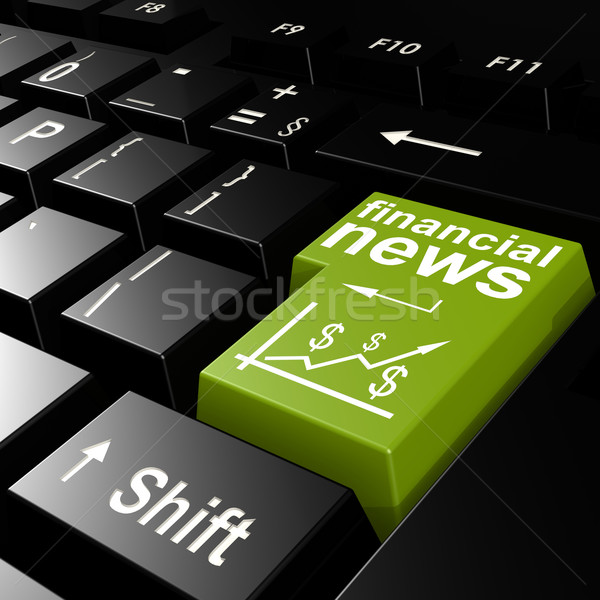Stock photo: Financial news word on the green enter keyboard