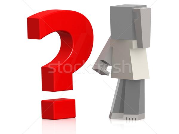 марионеточного красный вопросительный знак изображение оказанный Сток-фото © tang90246