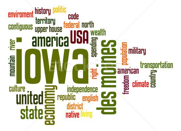 Айова слово облако облаке свободу история графических Сток-фото © tang90246