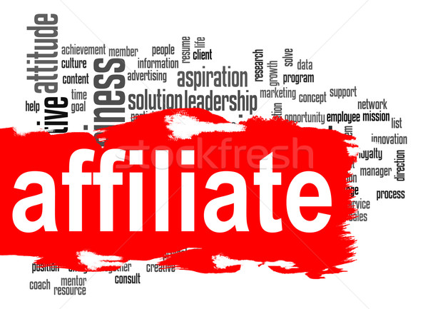 Affiliate word cloud with red banner Stock photo © tang90246