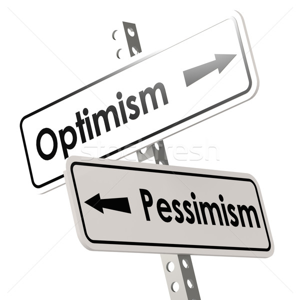 Optimism and Pessimism Road Sign Stock photo © tang90246