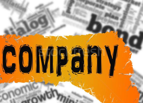 Szófelhő cég szó citromsárga piros szalag Stock fotó © tang90246