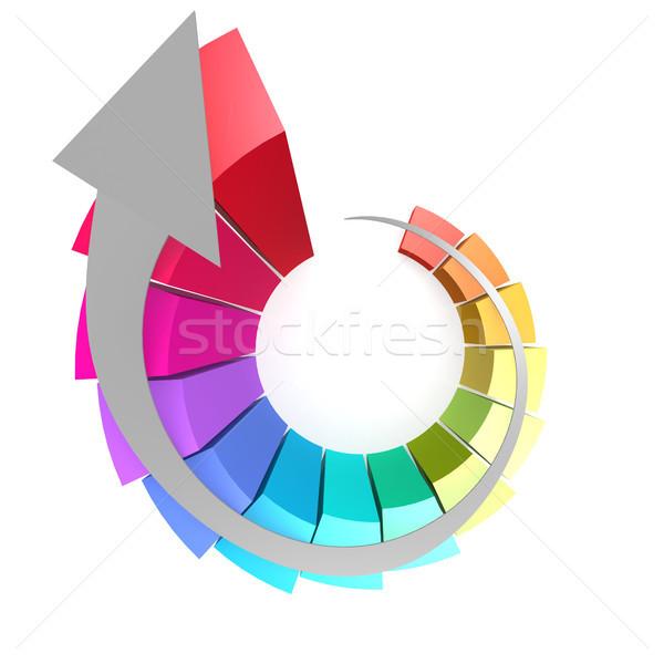 Colorido gráfico de barras branco seta imagem prestados Foto stock © tang90246
