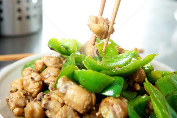 Kóstolás kínai étel kínai tyúk szárnyak edény Stock fotó © tangducminh