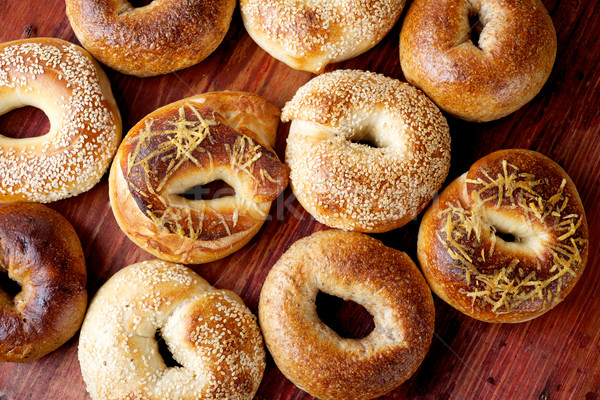 aerial view of assorted bagels Stock photo © tangducminh