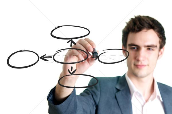 бизнесмен Дать пусто Круги диаграмма Сток-фото © tangducminh