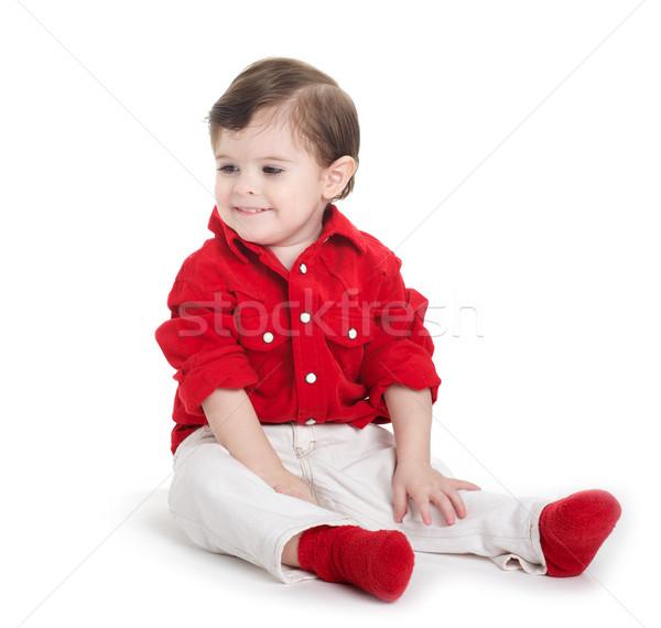 Bebek oturma gülen gülme Stok fotoğraf © tangducminh