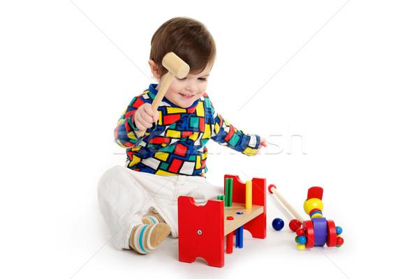 Bebek çocuk oynama oyuncaklar ahşap Stok fotoğraf © tangducminh