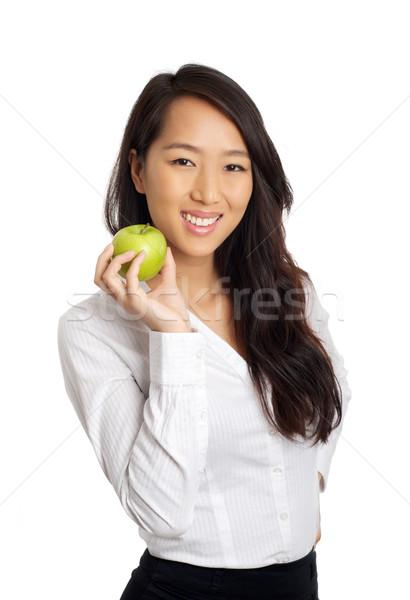 азиатских деловой женщины яблоко формальный зеленый здоровья Сток-фото © tangducminh