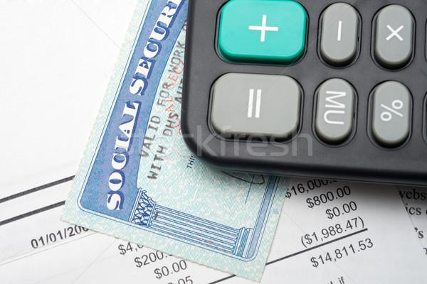 Társadalombiztosítás számítás számológép pénzügyi bank irat Stock fotó © tangducminh