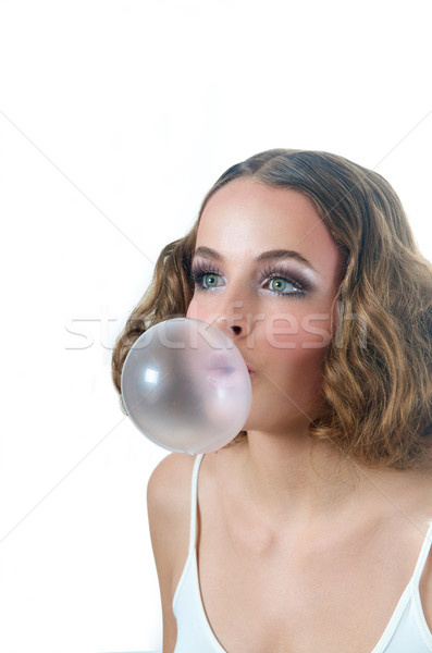 Nagy buborék íny modell fúj nő Stock fotó © tangducminh