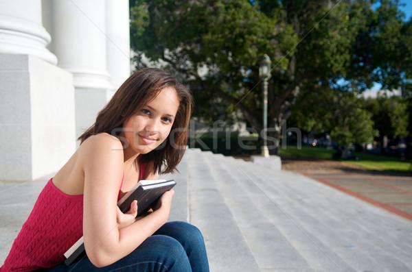 öğrenci ders kitabı kampus genç kız mutlu Stok fotoğraf © tangducminh