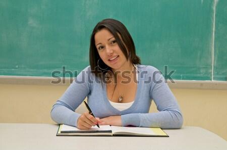 öğrenci ders kitabı sınıf koyu esmer kadın Stok fotoğraf © tangducminh