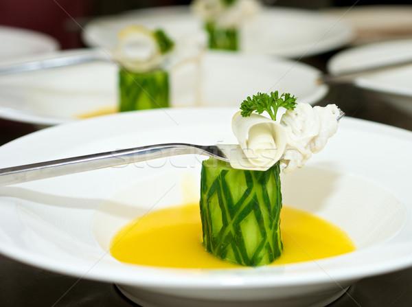 Sebze gurme gıda yemek sos çatal kaşık Stok fotoğraf © tangducminh
