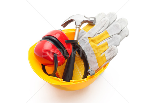 Outils casque construction jaune Photo stock © tangducminh