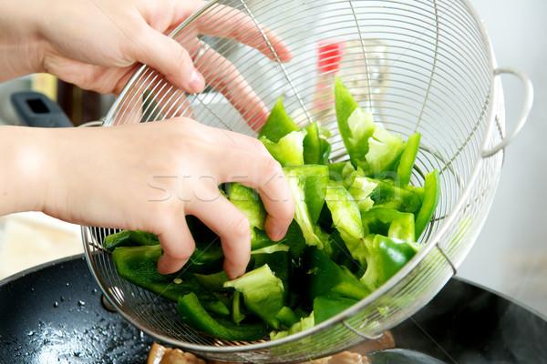 Vegetal mão picado verde prata Foto stock © tangducminh