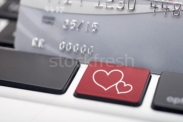 онлайн знакомства клавиатура кредитных карт компьютер сердце Сток-фото © tangducminh