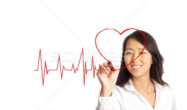 Hayat çizgisi kalp sevmek güzellik Asya kadın Stok fotoğraf © tangducminh