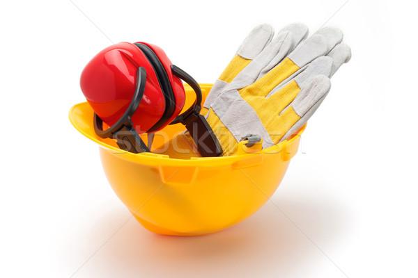 Construção proteção ferramentas amarelo capacete Foto stock © tangducminh