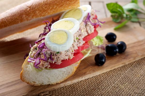 Sandviç taze lezzetli ton balığı yumurta Stok fotoğraf © tangducminh