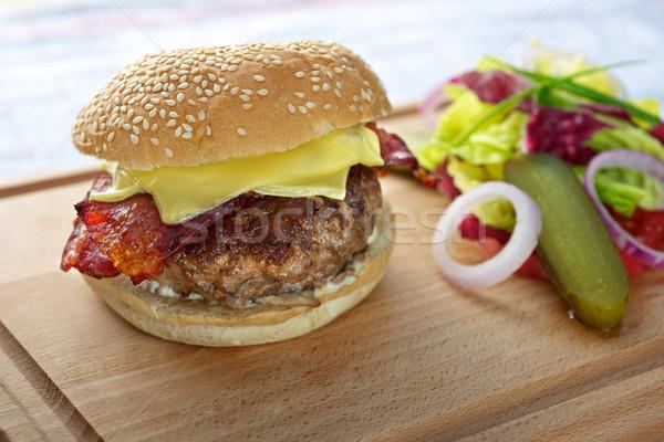 Peynir hamburger taze lezzetli tablo Stok fotoğraf © tangducminh
