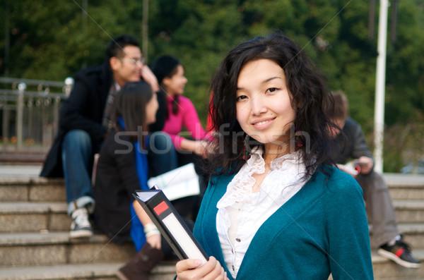Estudar no exterior asiático estudante bloco de notas escola Foto stock © tangducminh