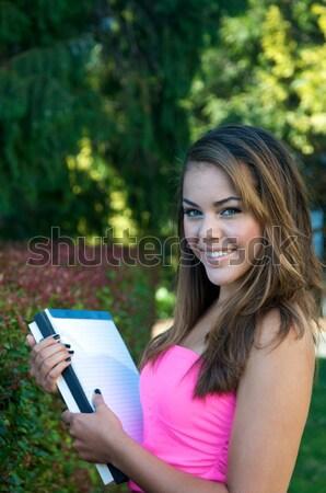 студент учебник девушки природы счастливым тело Сток-фото © tangducminh
