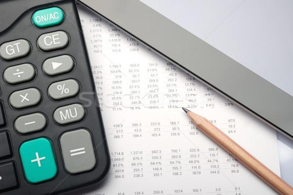 Analyse financiële rekening calculator potlood internet Stockfoto © tangducminh