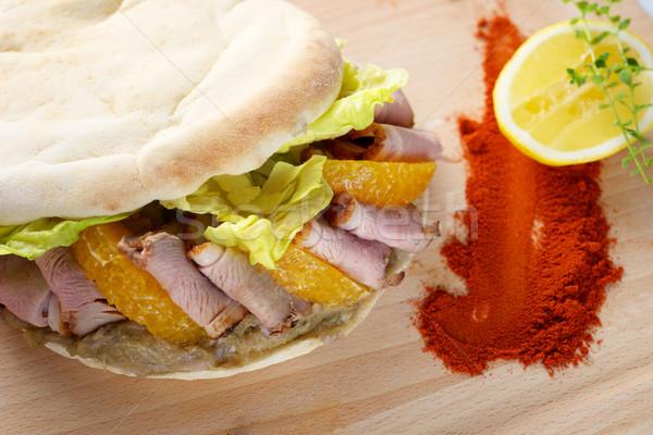 ördek meme kebap sandviç gıda Stok fotoğraf © tangducminh