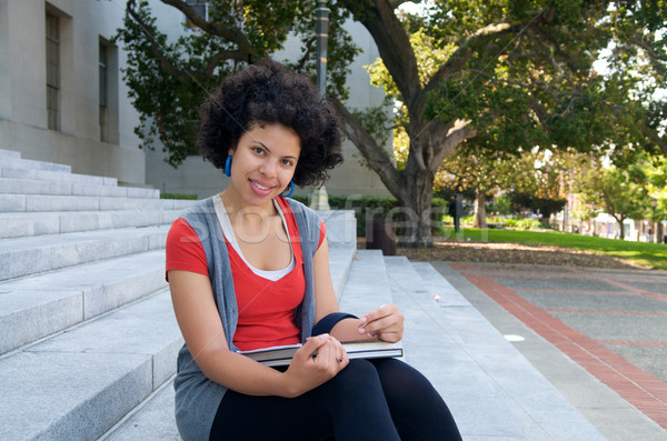 African American Student studying outdoor Stock photo © tangducminh