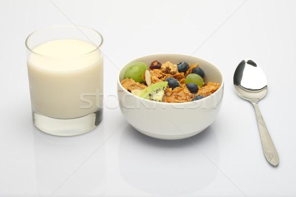 Muesli leite de soja branco café da manhã alimentação colher Foto stock © tangducminh
