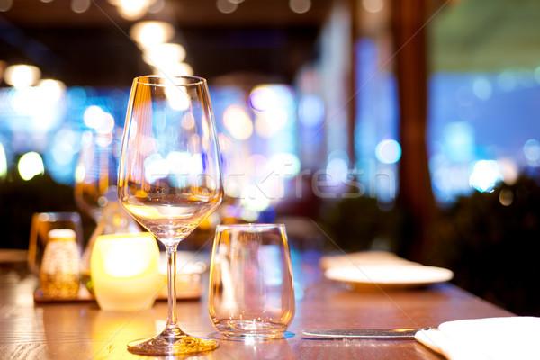 Restoran yemek masası ayarlamak yukarı su şarap Stok fotoğraf © tangducminh