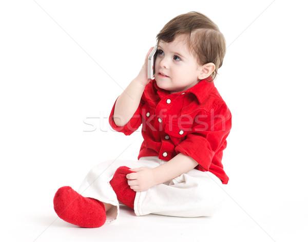 Bebek çocuk cep telefonu oturma Stok fotoğraf © tangducminh