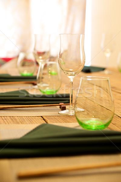 óculos tabela limpar talheres madeira vidro Foto stock © tangducminh