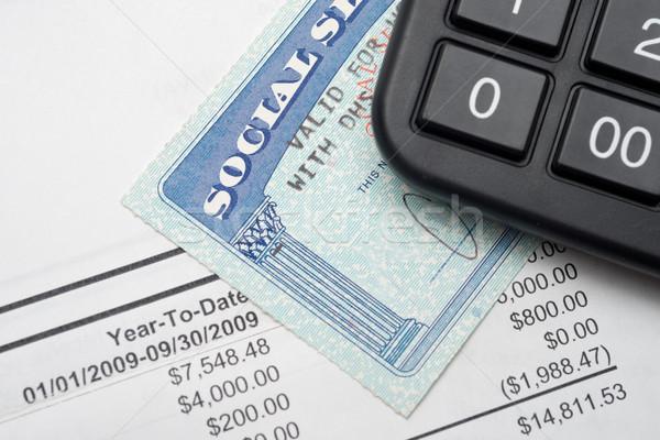 Társadalombiztosítás számológép pénzügyi terv szám foglalkozás Stock fotó © tangducminh