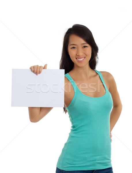красивой азиатских женщину чистый лист бумаги кусок Сток-фото © tangducminh
