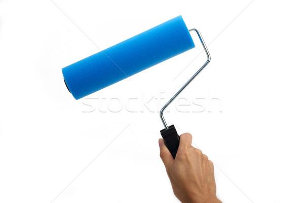 Mão pintar azul Foto stock © tangducminh